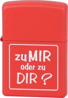 """Org.ZIPPO rot color """"Zu mir oder zu dir?"""" Eg"""