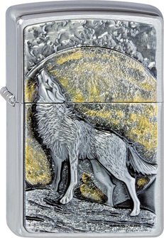 "Org.ZIPPO cr.geb. Plakette ""Wolf at Moonlight"" 2003038"