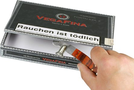 Cigarrenkisten-Öffner mit Holzauflage