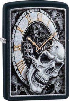 """Org.ZIPPO schwarz color """"Skull Clock"""" 60004591"""