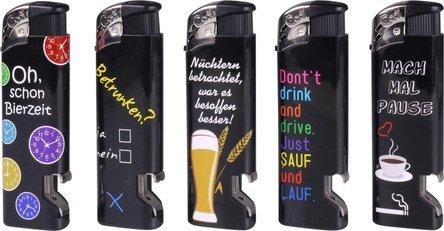 """COOL Mehrweg-Piezo-Feuerzeug """"Flaschenöffner"""" sortiert"""
