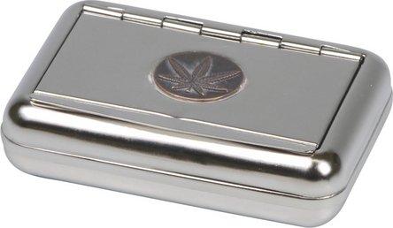 "Tabakdose Plak.""Cannabis""/Clip   9.5x7cm"