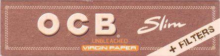 OCB Unbleached Virgin EXTRA LONG Slim Zig-Pap.+Tips(je 32Hf)