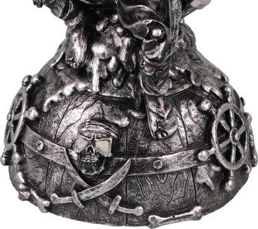 "Modern-Shisha Wasserpfeife ""Pirat"" silberfarben 2er/32cm"