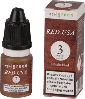Liquid ego green RED USA Tobacco 3mg Nikotin 10ml