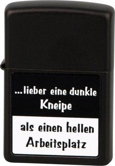 """Org.ZIPPO schwarz color """"...lieber eine dunkle Kneipe"""" Eg"""