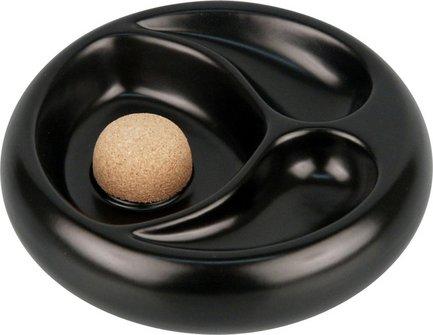 Pfeifenascher Keramik schwarz/matt mit 2 Ablagen