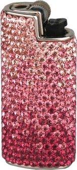 Feuerzeughülle/Mini Bic mit Swarovski Elements pink/rot