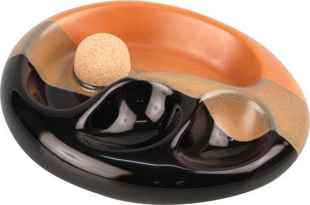 Pfeifenascher Keramik oval schwarz/braun mit 2 Ablagen