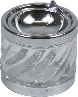 "Kippascher chrom/Glas ""Welle"" transparent  8cm"