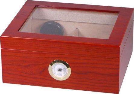 Humidor rot-braun matt Deckel mit Glaseinsatz für ca. 25 Cig