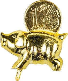 Mini Schwein gold mit 1 Cent Stück