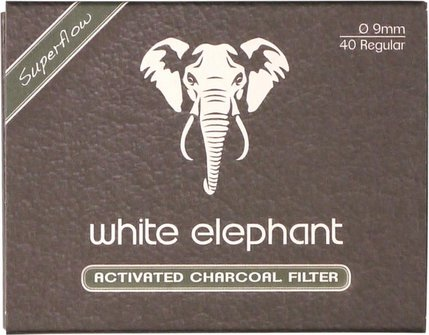 White Elephant Aktivkohlefilter 9mm Box Inhalt 40 Filter