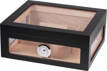 Humidor schwarz matt/Acryl für ca. 75 Cigarren