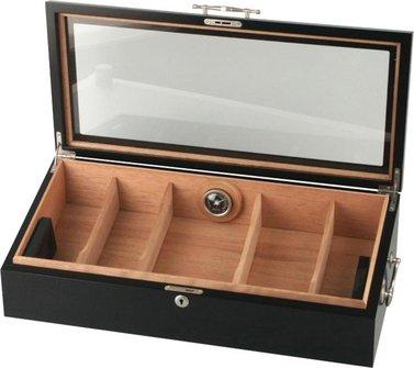 PASSATORE Humidor schwarz/Sichtfenster für ca. 150 Cigarren