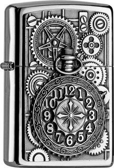"Org.ZIPPO chrom pol. Plakette ""Pocket Watch"" 2004742"