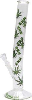 "Bong Glas ""Green XXX Leaf"" gebogen 45cm, Durchm. 50mm, 14.5"