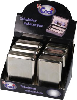 Tabakdose groß vernickelt/Clip sortierte Dekore