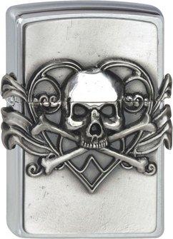 """Org.ZIPPO cr.Plak.""""Skull w.Heart""""2001330"""