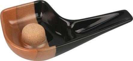 Pfeifenascher Keramik Pfeifenform schwarz/braun