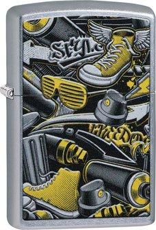 """Org.ZIPPO street chrom color """"Graffiti Design"""" 60004600"""