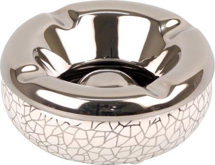 Salon-Ascher rund Keramik weiß/Crackle silber 12cm