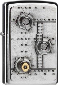 """Org.ZIPPO chrom geb.Plakette """"Bullet Holes"""" 2004519"""