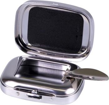 Taschenascher verchromt mit Epoxy-Auflage schwarz 6.5x5cm