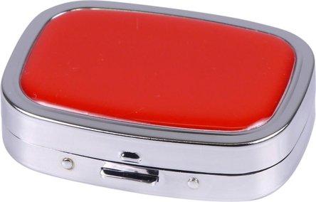 Taschenascher verchromt mit Epoxy-Auflage rot 6.5x5cm