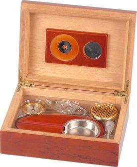 Humidor-Set Rosenholzfurnier für ca. 25 Cigarren