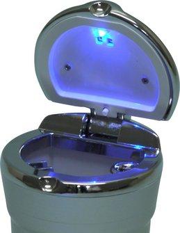 Ascher für Auto-Dosenhalter silberfarbig mit LED Leuchte