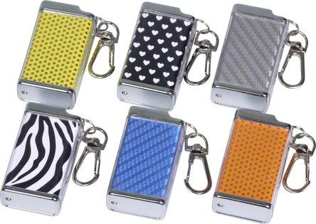 Taschenascher rechteckig m.Schlüsselanhänger farbig sort.