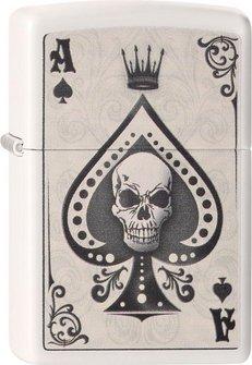 """Org ZIPPO weiß color """"Ace Skull Card"""" 60001386"""