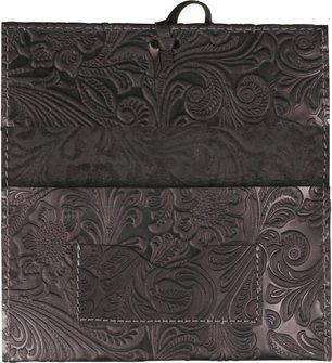 Drehertasche Leder schwarz/graue Steppung Flowerprint 16cm
