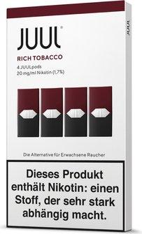 JUUL Podpack 0,7ml Rich Tobacco 20g/ml Nikotin DE 4er Pack