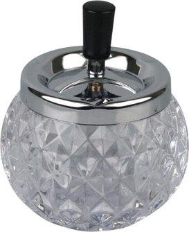 Drehascher chrom/Glas Kugel transp. 12cm