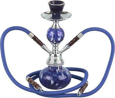 """Modern-Shisha Wasserpfeife """"HEKA"""" blau ca.30cm/2 Schläuche"""