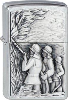 """Org.ZIPPO chrom gebürstet Plakette """"Firemann"""" 2001662"""