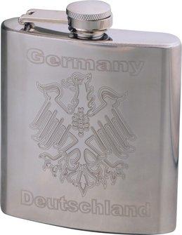"Flachmann Edelstahl poliert ""Germany""  6oz/180ml"