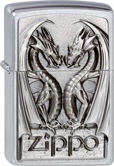 "Org.ZIPPO cr.geb. Plakette  ""Twins Dragon Heart"" 2002728"