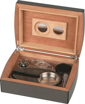 "Humidor-Set ""Carbone finish"" für ca. 25 Cigarren"