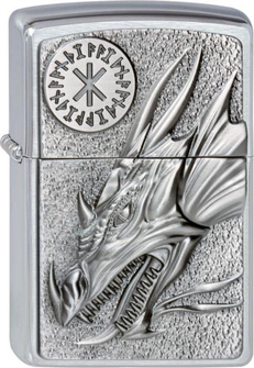 """Org.ZIPPO cr.geb. Plakette """"Dragon with amulet"""" 2002726"""