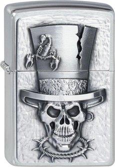 "Org.ZIPPO cr. geb. Plak. ""Skull Top Hat Emblem"" 2001666"