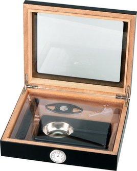 Humidor-Set schwarz Glasdeckel  für ca. 15 Cigarren