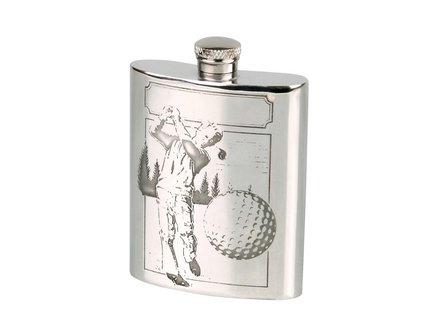 """Flachmann Zinn """"Golfspieler"""" mit Trichter 6oz/180ml"""