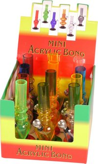 Bong Acryl Mini sortierte Modelle uni + 2-fbg.  15.5cm