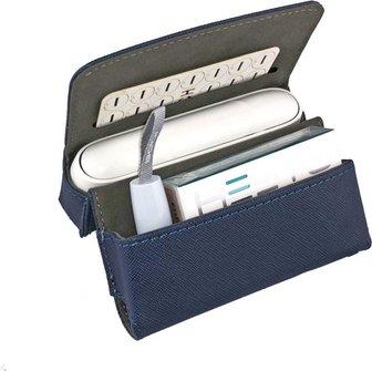 Etui KL blau für IQOS 3 + Pocket Charger + Heets + Heat-