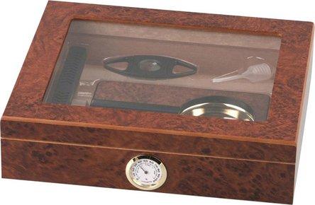 Humidor-Set Wurzelholz-Design Glasdeckel für ca.15 Cigarren