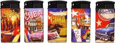"PROF Mehrweg-Piezo-Feuerzeug ""Cuba Flare"" sortiert"