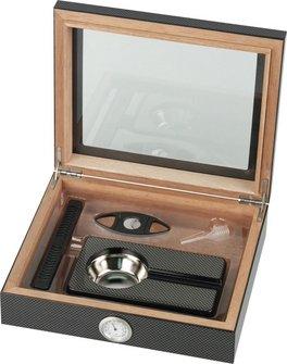 Humidor-Set Carbon-Design Glasdeckel  für ca. 15 Cigarren